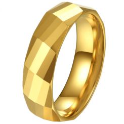 COI Gold Tone Tungsten Carbide Faceted Ring-5620