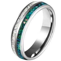 COI Tungsten Carbide Dome Court Ring With Meteorite and Crushed Opal-5625