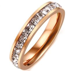 COI Rose Titanium Ring With Cubic Zirconia-5631