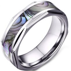 COI Tungsten Carbide Ring With Abalone Shell-5641