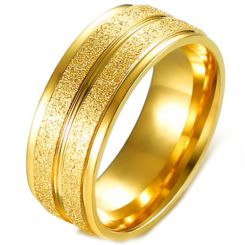 COI Gold Tone Titanium Sandblasted Step Edges Ring-5643