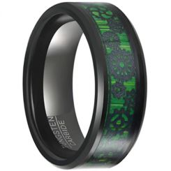 COI Tungsten Carbide Beveled Edges Ring With Green Wood-5649