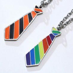 COI Titanium Black Orange/Rainbow Pride Tie Shaped Pendant-5659