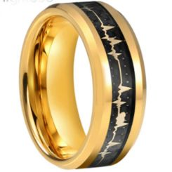 COI Gold Tone Tungsten Carbide Heartbeat Beveled Edges Ring With Carbon Fiber-5660
