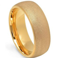 COI Rose Tungsten Carbide Sandblasted Dome Court Ring-5663