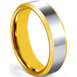COI Tungsten Carbide Gold Tone Silver Polished Shiny Beveled Edges Ring-5673