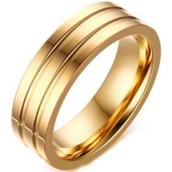 COI Gold Tone Titanium Double Grooves Ring-5686