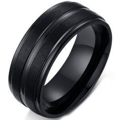 COI Black Titanium Center Groove Step Edges Ring-5699