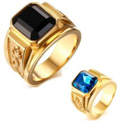 COI Gold Tone Titanium Ring With Black Agate or Blue Cubic Zirconia-5707