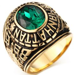 COI Gold Tone Titanium Ring With Created Green Emerald-5713