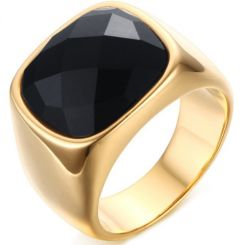 COI Gold Tone Titanium Ring With Black Agate-5710