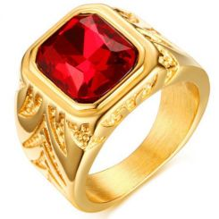 COI Gold Tone Titanium Ring With Created Red Ruby-5715
