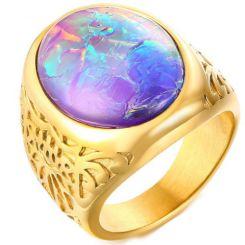 COI Gold Tone Titanium Ring Crushed Opal-5721