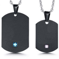 COI Black Titanium Dog Tag Pendant With Blue/Pink Cubic Zirconia-5740