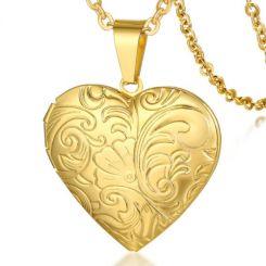COI Gold Tone Titanium Heart Pendant-5757