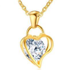 COI Gold Tone Titanium Heart Pendant With Cubic Zirconia-5763AA