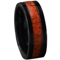 COI Black Tungsten Carbide Wood Pipe Cut Flat Ring-TG5772