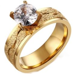 COI Gold Tone Titanium Solitaire Sandblasted Ring With Cubic Zirconia-5777