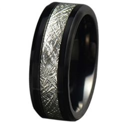 COI Black Tungsten Carbide Meteorite Beveled Edges Ring-TG5779