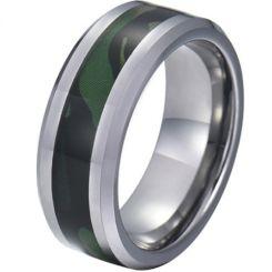 COI Tungsten Carbide Camo Beveled Edges Ring-TG5781