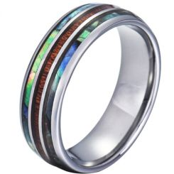 COI Tungsten Carbide Abalone Shell and Wood Dome Court Ring-TG5785