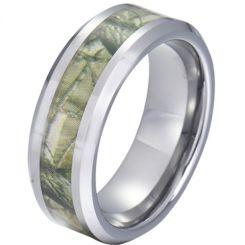 COI Tungsten Carbide Camo Beveled Edges Ring-TG5788