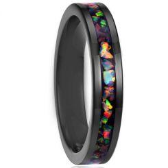 COI Black Titanium Crush Opal Pipe Cut Flat Ring-JT5789