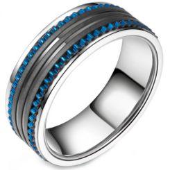 **COI Titanium Black Blue Tire Tread Ring-5802