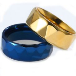 COI Titanium Gold Tone/Blue Faceted Ring-5808