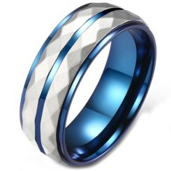 COI Titanium Blue Silver Faceted Step Edges Ring-5812