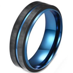 COI Titanium Black Blue Center Groove Step Edges Ring-5816