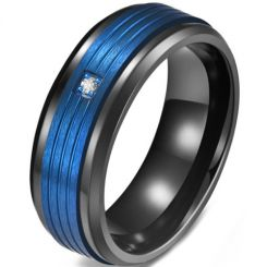 *COI Titanium Black Blue Triple Grooves Ring With Cubic Zirconia-5817