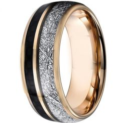COI Rose Tungsten Carbide Meteorite and Carbon Fiber Ring-5828