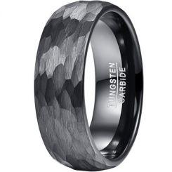 COI Black Tungsten Carbide Hammered Dome Court Ring-5830