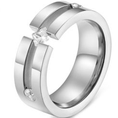 *COI Titanium Silver/Rose Groove Ring With Cubic Zirconia-5831