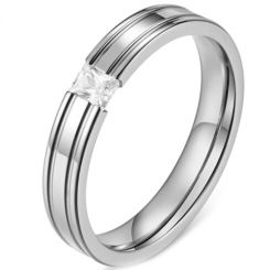 *COI Titanium Gold Tone/Silver Double Grooves Solitaire Ring With Cubic Zirconia-5834