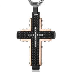 COI Titanium Black Rose Cross Pendant With Cubic Zirconia-5844