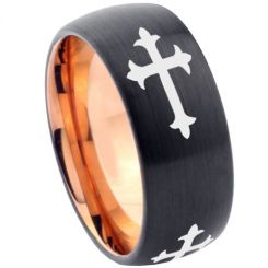 COI Tungsten Carbide Black Rose Cross Dome Court Ring-5853