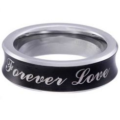 *COI Tungsten Carbide Black Silver Forever Love Concave Ring-5854