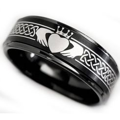 *COI Black Tungsten Carbide Mo Anam Cara Celtic Step Edges Ring-5862