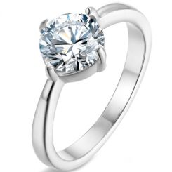 *COI Titanium Silver/Gold Tone/Rose Solitaire Ring With Cubic Zirconia-5865