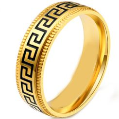 *COI Titanium Black Gold Tone/Silver Greek Key Step Edges Ring-5868