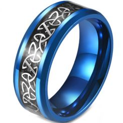 *COI Titanium Blue/Black/Silver Trinity Knots Beveled Edges Ring With Carbon Fiber-5872