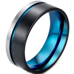 *COI Titanium Black Blue Offset Grooves Pipe Cut Flat Ring-5873