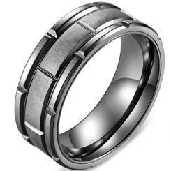 **COI Titanium Black/Rose Tire Tread Brick Pattern Ring-5878