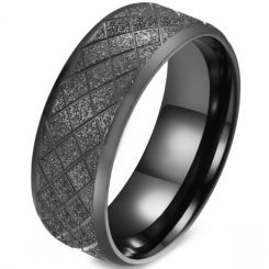 *COI Titanium Black/Silver/Gold Tone/Blue Sandblasted Grooves Beveled Edges Ring-5879