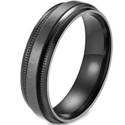 *COI Titanium Black/Blue Step Edges Ring-5880