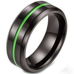 COI Black Titanium Green/Purple/Rose Center Groove Beveled Edges Ring-5882