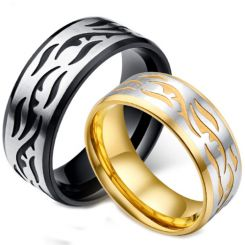 *COI Titanium Black/Gold Tone Silver Celtic Beveled Edges Ring-5885