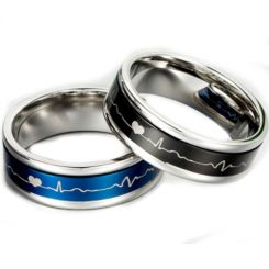 *COI Titanium Black/Blue Silver Heartbeat & Heart Ring-5887